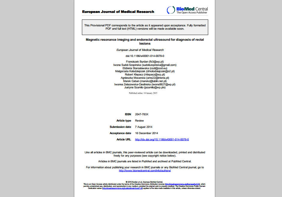 Magnetic resonance imaging and endorectal ultrasound for diagnosis of rectal lesions (paper)